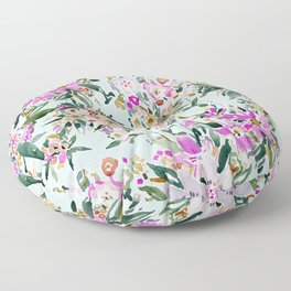 SWEPT AWAY Powder Blue Tropical Floral Floor Pillow