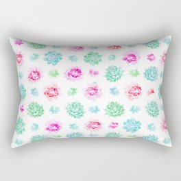 Blush pink teal modern trendy summer cactus floral Rectangular Pillow