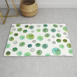 Whimsical Happy Suns Watercolor Pattern Green Rug