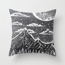 """Supermoon"" Full Moon Night Sky Original Mountains Artwork Drawing Throw Pillow"