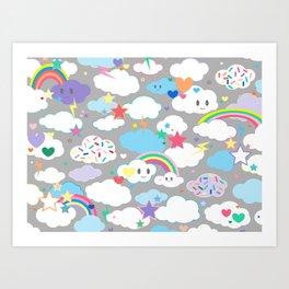 Clouds and Rainbows Kawaii Art Print
