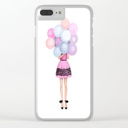 Girl and balloons Clear iPhone Case