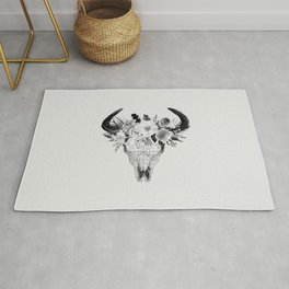 Monochrome Floral bohemian black and white watercolor animal stag head skull boho home wall decor Rug