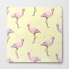 Simply Pink Flamingo Infinity Link Pale Yellow Metal Print