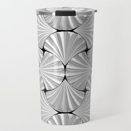 3-D Art Deco Silver Shells Pattern Travel Mug