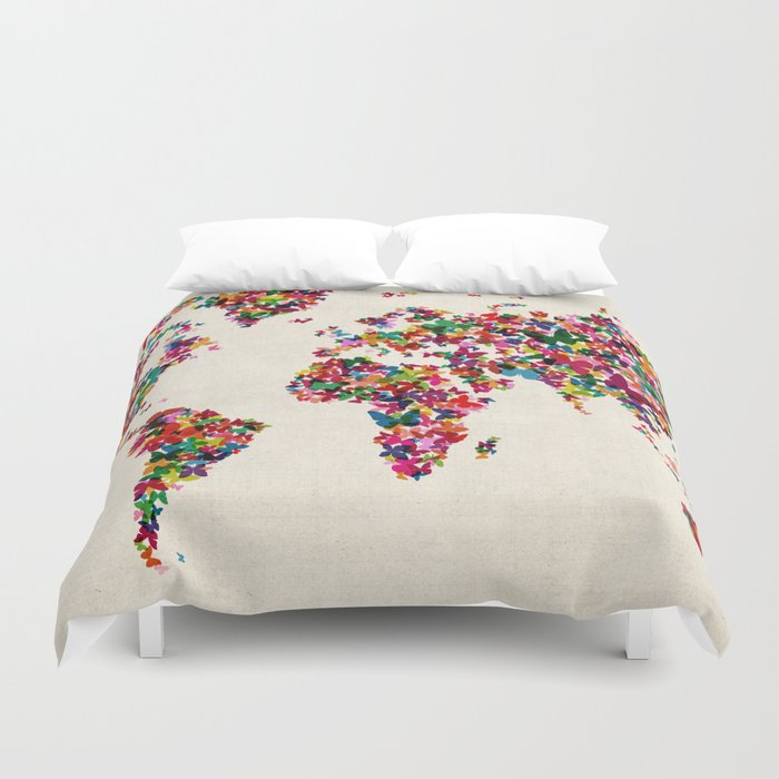 Butterflies Map of the World Map Duvet Cover by artpause | Society6