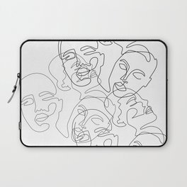Lined Face Sketches Laptop Sleeve