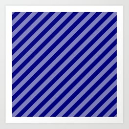 Navy Blue and White Candy Cane Stripes Art Print