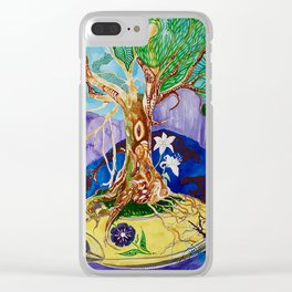 Follow Your Floating Golden Magic Tree Heart 2014 Watercolor Illustration by Finn Graves Clear iPhone Case