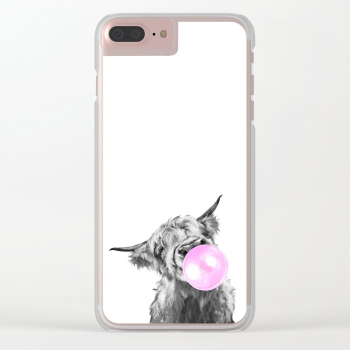 Bubble Gum Highland Cow Black and White Clear iPhone Case