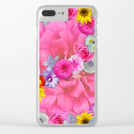 Flower power in pink Clear iPhone Case