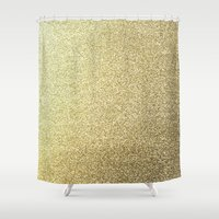 gold glitter Shower Curtains featuring gold glitter by lamottedesign
