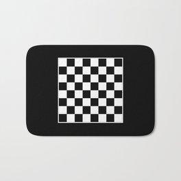 Vintage Chessboard & Checkers - Black & White Bath Mat