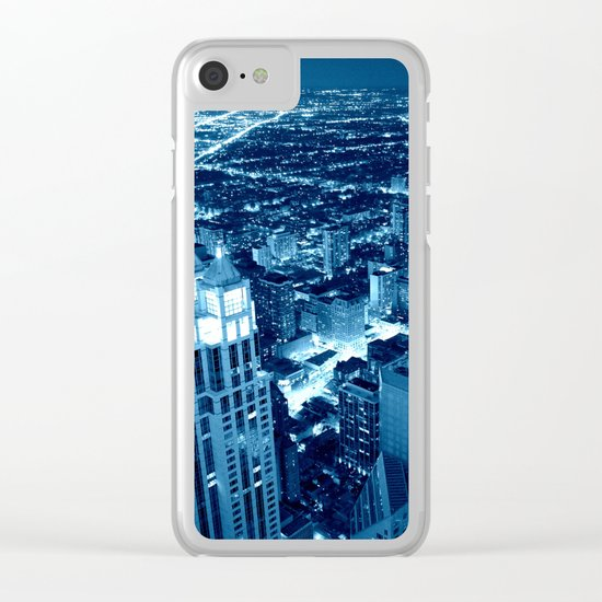 Chicago Nights Blue Clear iPhone Case