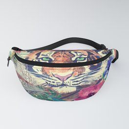 Seamless pattern tiger flowers feathers pineapple Buddha head and Indian elephant Fanny Pack