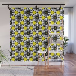 Yellow and Black Flowers Wall Mural