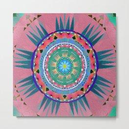 Aztec Neo Tribal Ancient Soul Sun Boho Oil Painted Mandala Metal Print