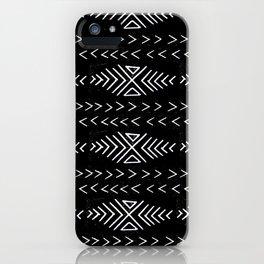 mudcloth 4 minimal textured black and white pattern home decor minimalist iPhone Case