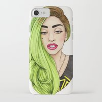 neon genesis evangelion iPhone & iPod Cases featuring Lady Neon by Helen Green