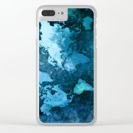 world map blue #map #world Clear iPhone Case