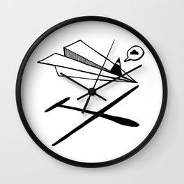 Ninja flies a Paper Plane Wall Clock