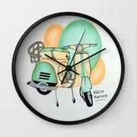 vespa Wall Clocks featuring Vespa  by Melissa Rodriguez