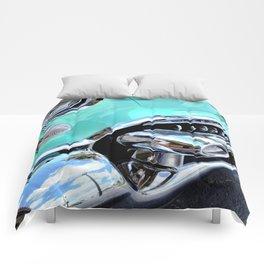 Turquoise Blue Vintage Car Comforters
