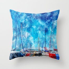 July Lines In Watercolors Throw Pillow