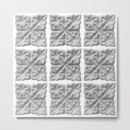 Aisha Bibi carved terracota tile with floral geometric ornament Metal Print
