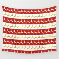 reindeer Wall Tapestries featuring Reindeer by Laura Maria Designs