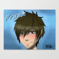 iwatobi Canvas Prints featuring Free! Iwatobi Swim Club: Makoto by herpyderpymegu