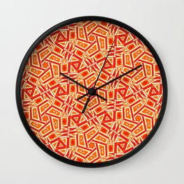 Burnt Orange Jazz Busy Red Clay Hexagon Country Southwestern Design Pattern Wall Clock
