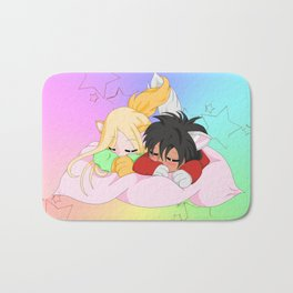 Chibis on the pillow Bath Mat