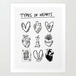 TYPES OF HEARTS Art Print