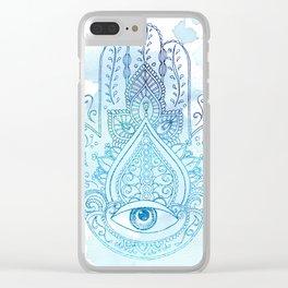 Hamsa Blue Clear iPhone Case