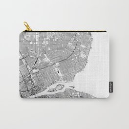 Detroit White Map Carry-All Pouch