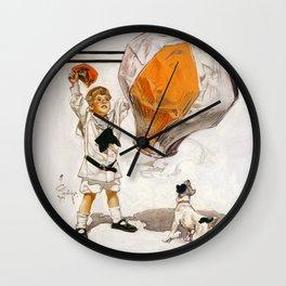 Joseph Christian Leyendecker - Boy And Dog And A Balloon - Digital Remastered Edition Wall Clock