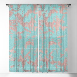 Modern turquoise glitter faux rose gold marble Sheer Curtain