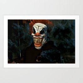 Scary Clown Blue Smoke Art Print