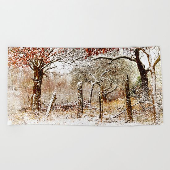 Painterly winter Beach Towel