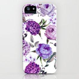Elegant Girly Violet Lilac Purple Flowers iPhone Case