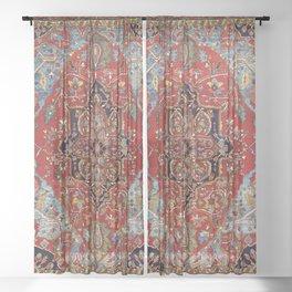 Heriz  Antique Persian Rug Print Sheer Curtain