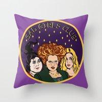 hocus pocus Throw Pillows featuring HOCUS POCUS SAD GIRLS CLUB by Cat Core