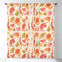 Snail and small flowers Blackout Curtain