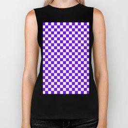 White and Indigo Violet Checkerboard Biker Tank