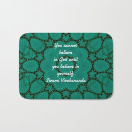 Believe In Yourself Uplifting Inspirational Quote With Green Tribal Design Bath Mat