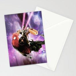 Tornado Cat Riding Chicken With Hotdog Stationery Cards