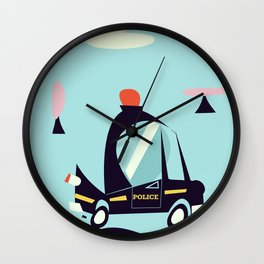 Cartoon Police Car Wall Clock