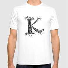 Letter K Mens Fitted Tee SMALL White