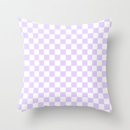 Large Chalky Pale Lilac Pastel Color and White Checkerboard Throw Pillow